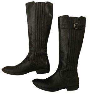 Italian Black Leather Tall Boots